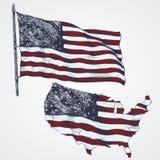 Ilustração de ondulação da bandeira americana Mapa dos EUA Ilustração desenhada mão ilustração royalty free