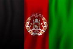 Ilustração de ondulação realística do vetor da bandeira de Afeganistão naturalizado ilustração stock