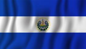 Ilustração de ondulação realística do vetor da bandeira de El Salvador naturalizado ilustração do vetor