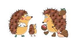 Ilustração de ouriços da família ilustração do vetor