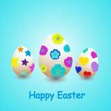 Ilustração de ovos decorativos no fundo azul Foto de Stock