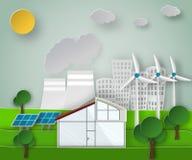 Ilustração de papel do vetor da arte de um conceito verde renovável das fontes de energia em um fundo sujo da cidade Imagens de Stock Royalty Free
