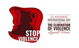 Ilustração de papel do vetor para o dia internacional para a eliminação da violência contra mulheres imagem de stock