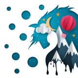 Ilustração de papel dos desenhos animados Balão de ar, montanha, nuvem, lua ilustração do vetor
