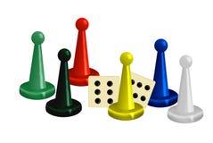 Ilustração de partes coloridas do jogo com dados Fotos de Stock Royalty Free