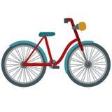 Ilustração de passeio retro vermelha da bicicleta no fundo branco fotos de stock