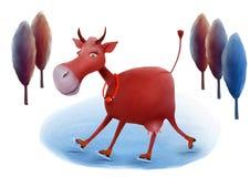 Ilustração de patinagem da vaca ilustração stock