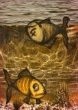 Ilustração de peixes inoperantes na água contaminada Imagens de Stock Royalty Free