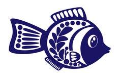 Ilustração de peixes isolados dos desenhos animados no fundo branco Vetor Imagem de Stock Royalty Free