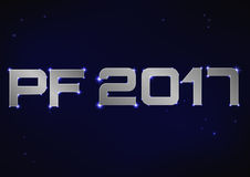 Ilustração de PF metálico de prata 2017 sobre o céu noturno azul Fotografia de Stock Royalty Free