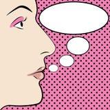 Ilustração de PopArt de uma face com uma bolha do discurso Imagens de Stock Royalty Free