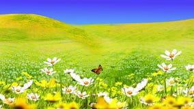 Ilustração de prados e de flores verdes ilustração do vetor
