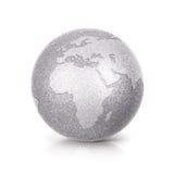 A ilustração de prata Europa e África do globo 3D do brilho traça Fotografia de Stock Royalty Free