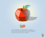 Ilustração de PrintVector da maçã vermelha poligonal com folha, ícone moderno, objeto do fruto Imagem de Stock