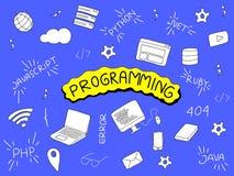 Ilustração de programação da garatuja com ferramentas do programador e língua popular ilustração do vetor