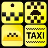 Ilustração de quatro ícones do táxi Imagens de Stock Royalty Free