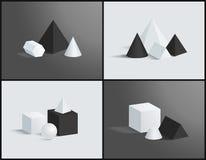 Ilustração de quatro vetores com os prismas geométricos ajustados ilustração do vetor