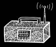 ilustração de rádio retro do streo do estilo do zentangle, desenho da mão Fotografia de Stock Royalty Free