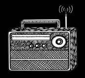 ilustração de rádio retro do streo do estilo do zentangle, desenho da mão Imagem de Stock