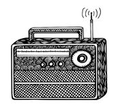 ilustração de rádio retro do streo do estilo do zentangle, desenho da mão Fotos de Stock Royalty Free