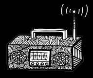 ilustração de rádio retro do vetor do streo do estilo do zentangle, desenho da mão Fotos de Stock