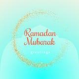Ilustração de Ramadan Kareem com símbolo dourado da lua em um fundo claro de turquesa ilustração stock