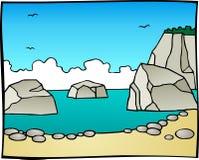 Ilustração de Rocky Seaside fotos de stock