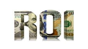 Ilustração de ROI Hundred Dollar Bill 3D Foto de Stock Royalty Free