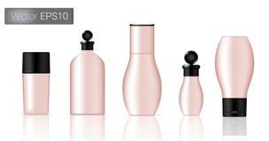 Ilustração de Rose Gold Bottles Set Background Imagens de Stock