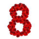 Ilustração de Rose Petals Realistic Number Vetora Imagem de Stock