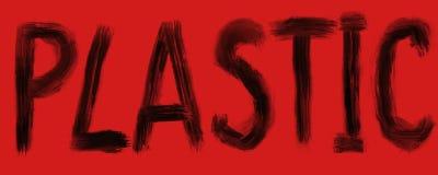 Ilustração de rotular o plástico, letras pretas em um fundo vermelho ilustração do vetor