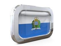Ilustração de San Marino Button Flag 3D ilustração stock