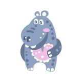 Ilustração de sorriso bonito do vetor do caráter do hipopótamo dos desenhos animados Imagens de Stock Royalty Free