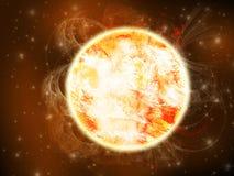 Ilustração de Sun no espaço profundo Fotografia de Stock Royalty Free