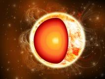 A ilustração de Sun no espaço profundo que mostra o é núcleo Imagem de Stock Royalty Free