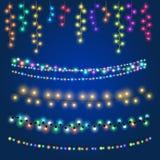 Ilustração de suspensão feericamente do vetor das luzes do Natal ilustração do vetor