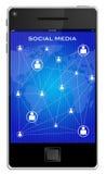 Ilustração de telefones móveis dos media sociais Foto de Stock