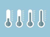 Ilustração de termômetros azuis com níveis diferentes, estilo liso, EPS10 Foto de Stock Royalty Free