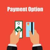 Ilustração de tipos diferentes pagamento no dinheiro e no cartão Fotos de Stock