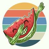Ilustração de toque ligeiro fresca do vetor da melancia ilustração royalty free