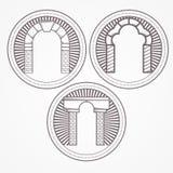 Ilustração de três tipos ícone do arco do tijolo Fotos de Stock