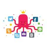 Ilustração de trabalhos em rede sociais Ilustração Stock