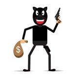 Ilustração de um bandido na máscara com arma Foto de Stock Royalty Free