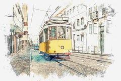 Ilustração de um bonde velho tradicional em Lisboa Ilustração Royalty Free