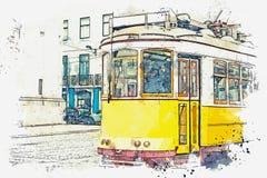 Ilustração de um bonde velho tradicional em Lisboa Ilustração Stock