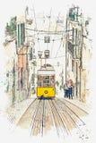 Ilustração de um bonde velho tradicional em Lisboa Ilustração do Vetor