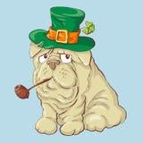 Ilustração de um cão de sorriso engraçado do dia bonito de St Patrick s ilustração stock