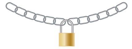 Ilustração de um cadeado fechado com as correntes de prata isoladas no fundo branco Foto de Stock