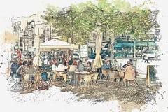 Ilustração de um café da rua em Lisboa Ilustração do Vetor