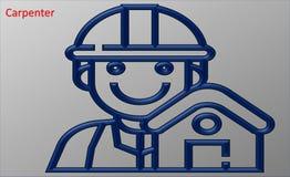 Ilustração de um carpinteiro azul ilustração stock